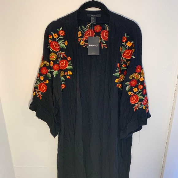 Forever 21 Jackets & Blazers - Forever 21 black embroidered floral kimono